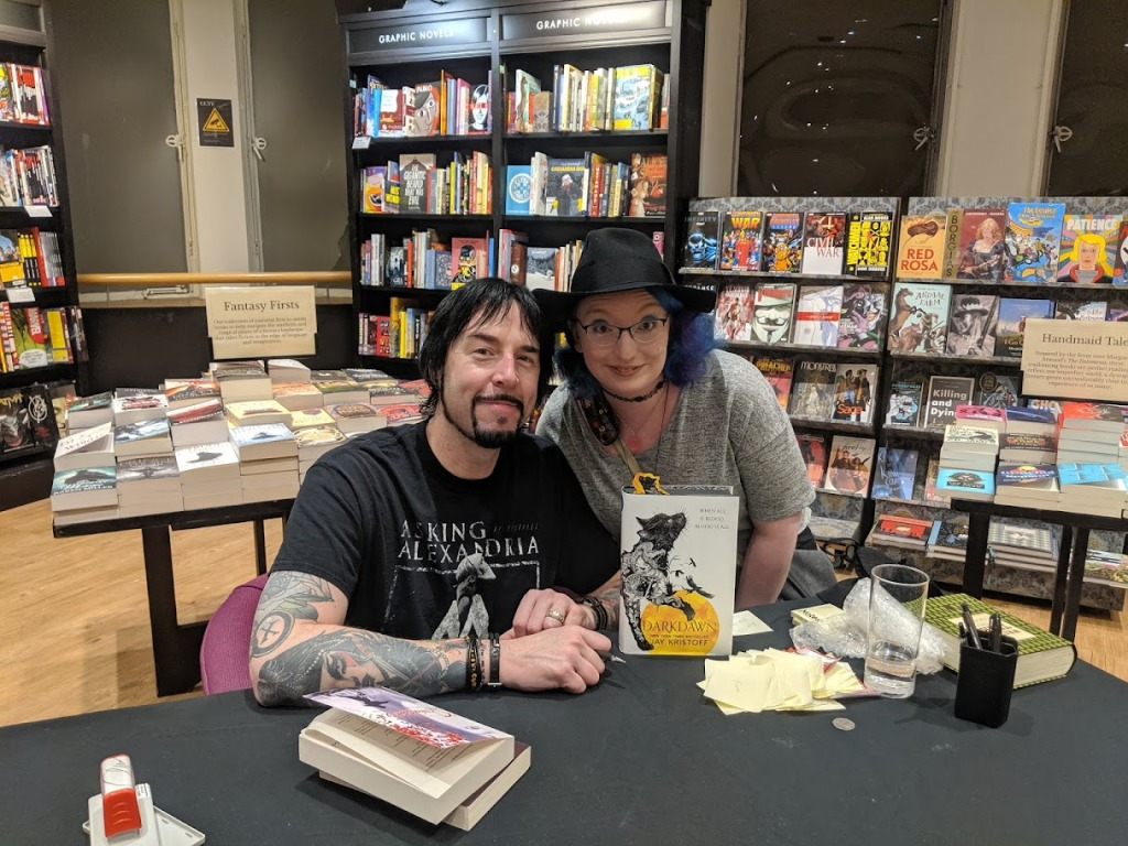 Myself and Jay Kristoff at his book signing in Glasgow Waterstones Sept 2019